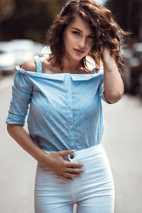 480x854 Women Bruneete Curly Hair Blue Shirt 4k