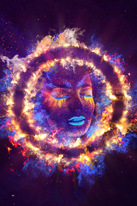 320x568 Women Closed Eyes Fire Neon Galaxy Art 5k