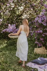 1080x1920 Women In White Dress Collecting Flowers 4k
