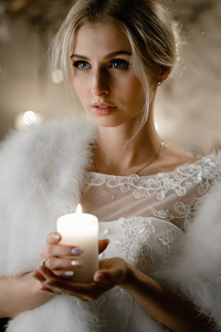 1242x2688 Women Indoor With Candle 4k