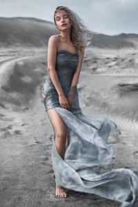 320x480 Women Outdoor Dress Sand Sky 5k