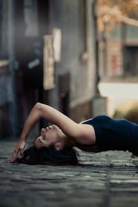 Women Outdoor Lying On Back