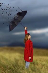 320x480 Women Umbrella Art