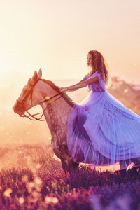 320x568 Women With Horse Fantasy Field 4k