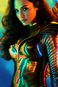 240x400 Wonder Woman 1984 Gold Suit Poster 4k