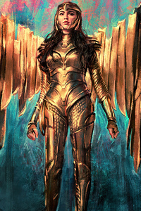 240x320 Wonder Woman 1984 Golden Armor Suit