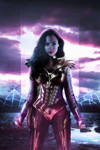 640x960 Wonder Woman 1984 Movie 4k Neon