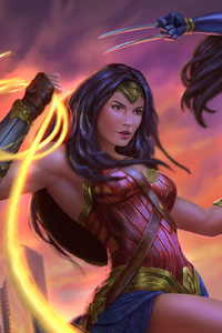 1080x2280 Wonder Woman And X23 Artwork
