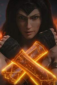 320x480 Wonder Woman Arms Closed Art