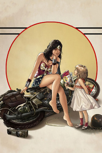 640x960 Wonder Woman Child Fallen Bike
