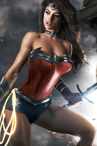 1080x2160 Wonder Woman Cute Cosplay