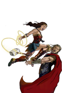 Wonder Woman Defeating Thor