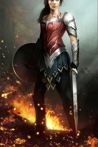1440x2560 Wonder Woman Digital Comic Art