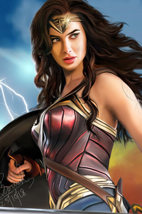 480x800 Wonder Woman Digital Drawing 5k