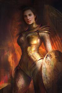 480x800 Wonder Woman Golden Eagle Armor Brush Art