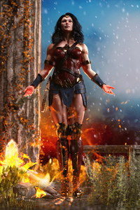 640x1136 Wonder Woman Ice And Fire 4k