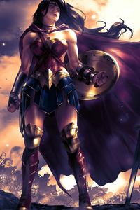 640x960 Wonder Woman Orange Sky