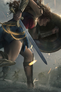 320x480 Wonder Woman Protecting
