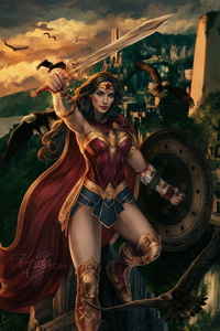 240x320 Wonder Woman Real Warrior Art 4k