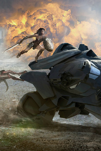 Wonder Woman Saving Batobile From Parademons Artwork