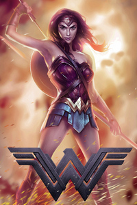 1242x2688 Wonder Woman Sword Warrior