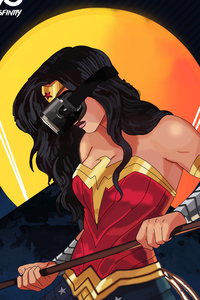 Wonder Woman Using VR Headset