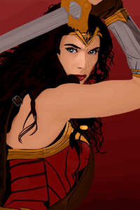 1080x2160 Wonder Woman Vector Artwork