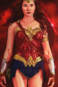 480x800 Wonder Woman Walking 4k