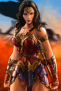 Wonder Woman Warrior Artwork 5k