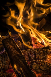 Wood Flame Burning 4k