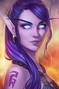 320x480 World Of Warcraft Fantasy Girl Art 4k