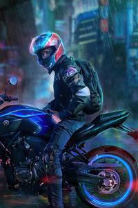 1280x2120 Yamaha Biker Rider
