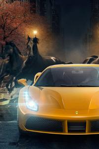 640x960 Yellow Ferrari 488 GTB Horses Behind
