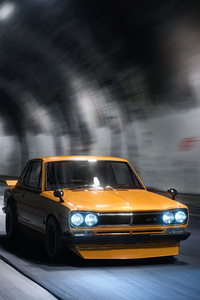 480x854 Yellow Gt Modified Car Tunnel 4k