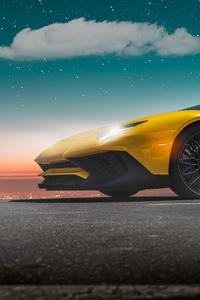 Yellow Lamborghini Aventador Sv 2020 5k