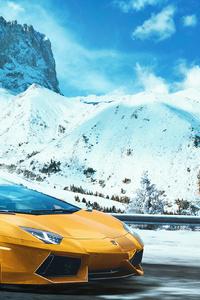 360x640 Yellow Lamborghini Aventador