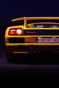 360x640 Yellow Lamborghini Diablo Rear