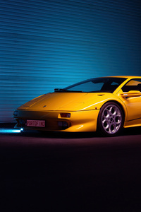 360x640 Yellow Lamborghini Diablo