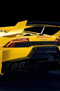 Yellow Lamborghini Huracan Lb 2 Rear View Rendered 4k
