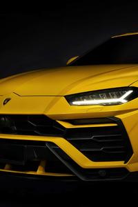 Yellow Lamborghini Urus Front Studio 4k