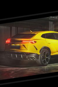 Yellow Lamborghini Urus Rear Studio View 4k