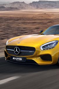 Yellow Mercedes Benz Amg GT 4k