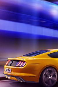 1440x2560 Yellow Mustang 5k 2019