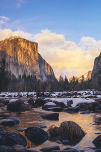 1080x2160 Yosemite Valley In Early Sunset Time 4k