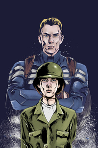 320x568 Young And Old Steve Rogers Artwork